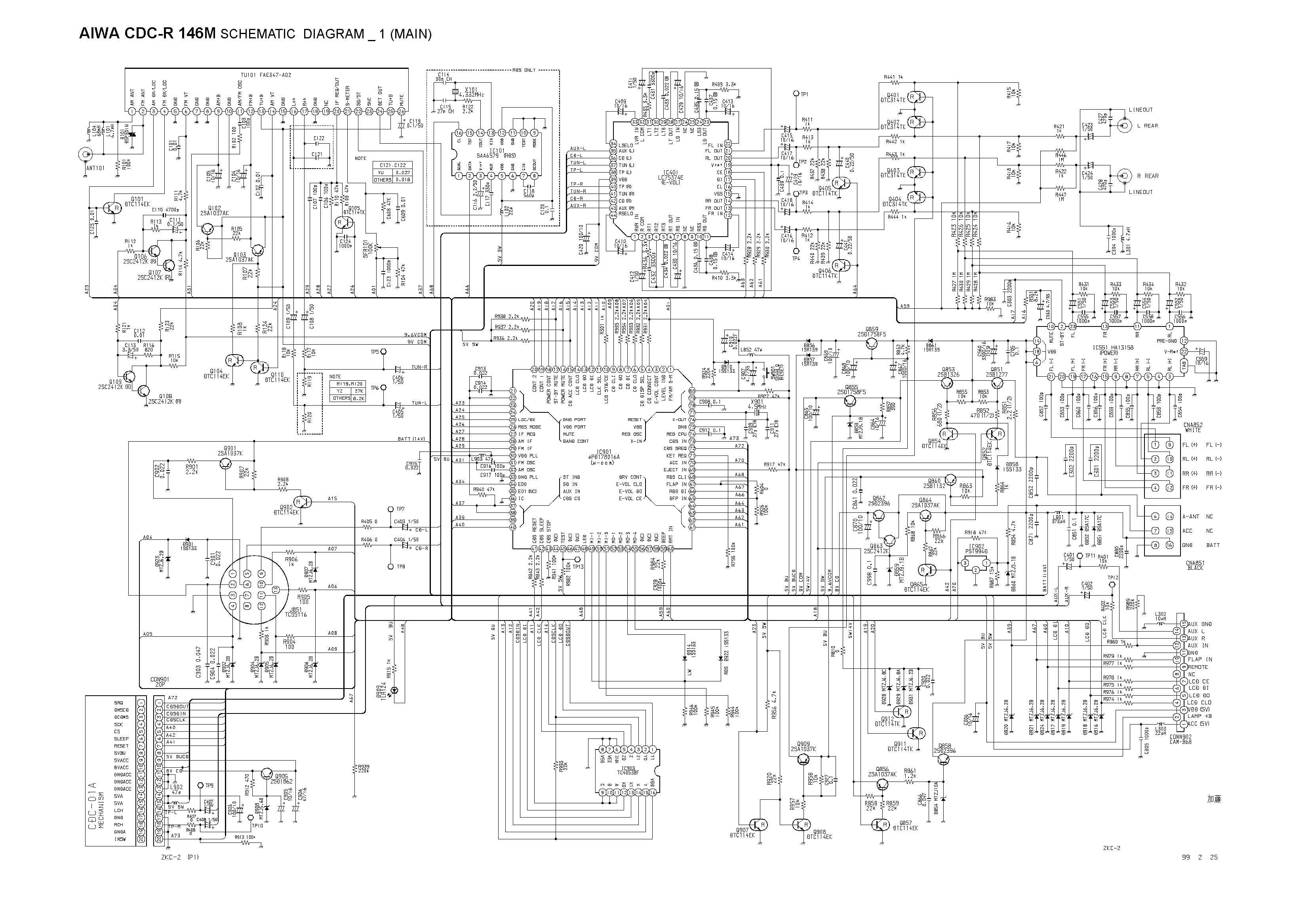 Aiwa Cdc R 146m Schematic Diagram Main Front In