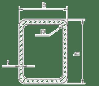 Кухи правоъгълни профили - размери и тегла БДС EN 10219