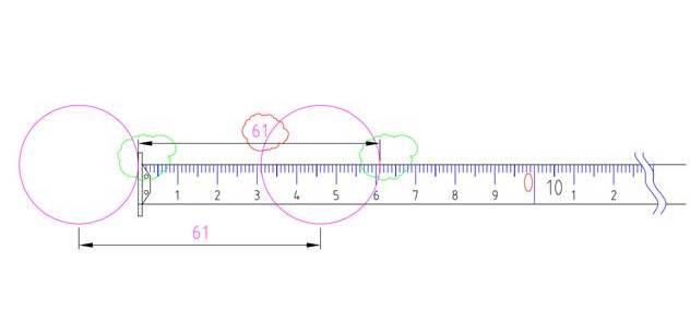 измерване с ролетка - междуосие
