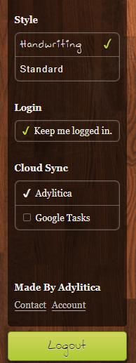Vista de la pantalla de configuración (sidebar)