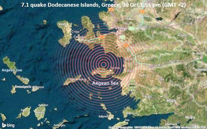 Πολύ ισχυρός σεισμός μεγέθους 7,1 χτυπά κοντά στο νησί της Σάμου στις 13:51