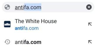 Το antifa com οδηγεί πλέον στο whitehouse.gov