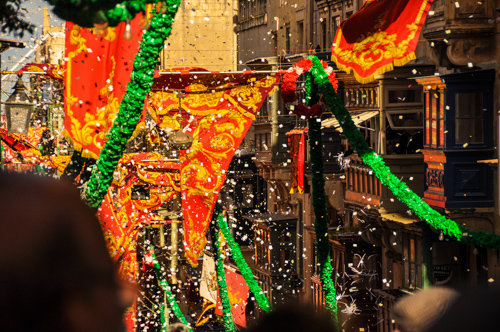 The statue of St. Paul is carried from the church in a procession around the city; celebrated and confetti adorned