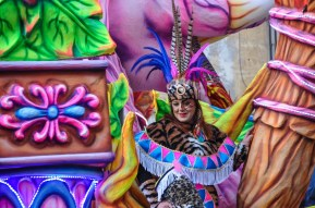 Floats and dancers are a colourful mashup