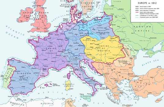 Europe in 1812 - before the battle of Waterloo