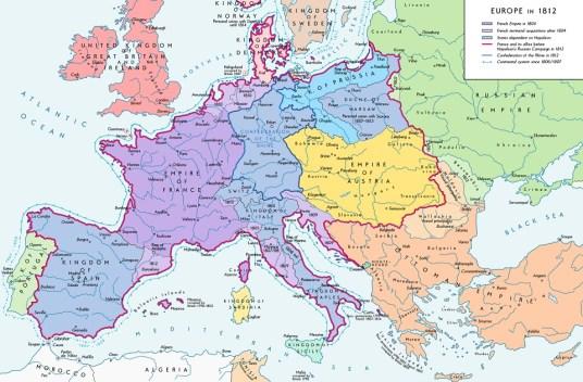 Europe in 1812 - before the battle of Waterloo