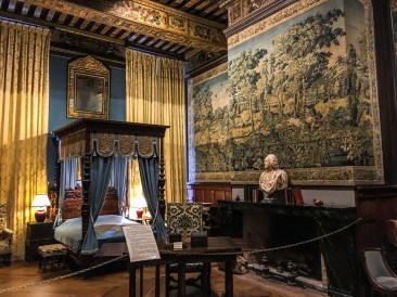 The Hunting Room with its massive 4-poster bed and 5 giant tapestries depicting hunting scenes