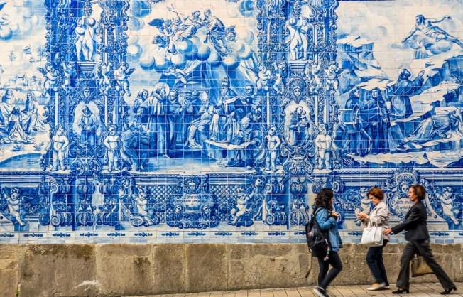 Beautiful azulejos facade of Capela Das Almas