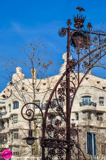 The amazing lamp posts in front of Casa Milà were designed by Pere Falqués