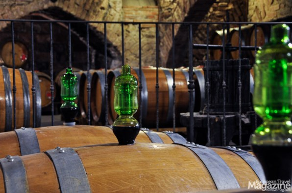 Many barrels guard the Vino Nobile di Montepulciano and Vin Santo, where they rest to complete the delicate process of aging