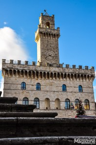 The medieval Palazzo Comunale, built as a small replica of Palazzo Vecchio in Florence