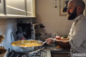 The al dente pasta is cooked finished in the pan with some of the ragù sauce and a bit of the boiled water
