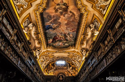 "The ceiling is a fresco masterpiece by Luca Giordano portraying the ""Allegory of Divine Wisdom"", which shows the human intellect released from the bonds of ignorance as it contemplates the truth"