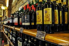 At the charming wine cellar Enoteca Falorni, where you can try (a lot of!) different wines