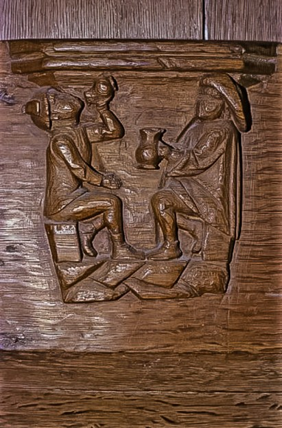 Men drinking. St. Nicholas Church, Amsterdam, Netherlands