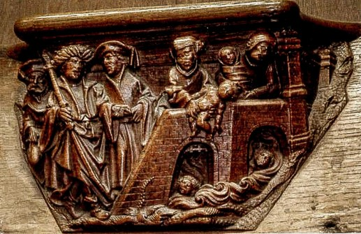 Pharaoh's soldiers drowning Hebrew infants. Cathédrale Notre-Dame d'Amiens, Amiens, France. Courtesy of https://misericords.co.uk