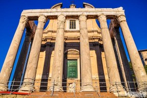 Check out the Temple of Antoninus and Faustina between them on the Via Sacra. Notice how high up the door is. Before the archaeological excavations, this was actually ground level!