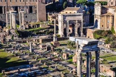 While Rome is said to be founded on exactly the Palatine Hill, it was generally the seven hills of the area that were first occupied. The middle ground, the flat land in the heart of hills soon became a marketplace where the different tribes would meet and exchange goods. This became the Forum Romanum