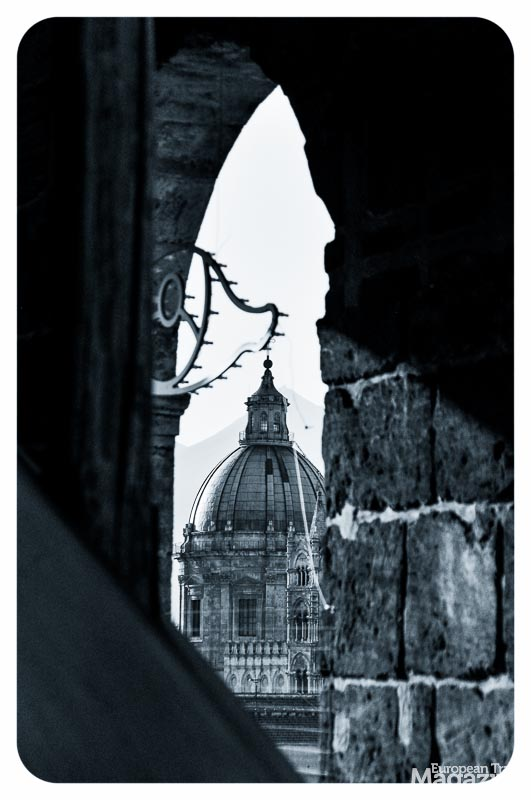 Glimpse of Palermo's cathedral from the rooftop of the church of Santissimo Salvatore