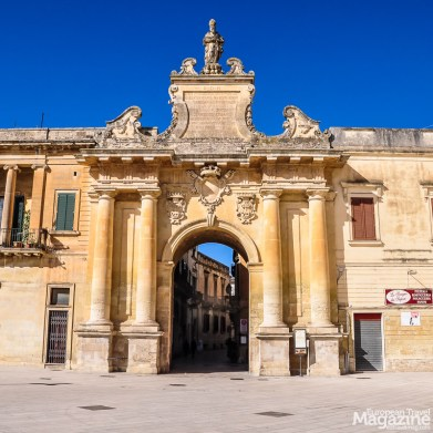 Elegant Porta San Biagio greets visitors arriving from south-east