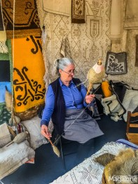 The flax is turned into threads of yarn which she weaves into linen blankets and tablecloths