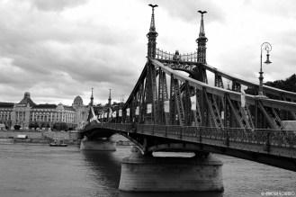 Liberty Bridge and behind the Hotel Gellért Spa