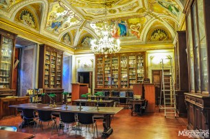 When you enter the library's reading room you are taken aback by the dazzling frescoes and golden ornamentation beaming back at you