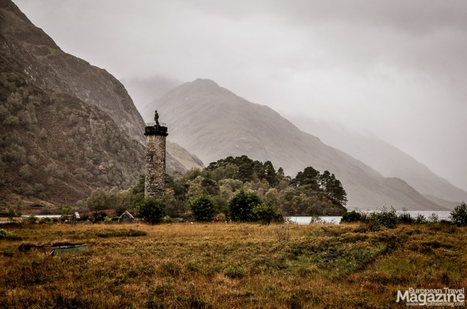 Glenfinnan monument, marking the spot where the Jacobite Pretender, Bonnie Prince Charlie, came ashore on Scottish soil to lead an uprising against the British monarch
