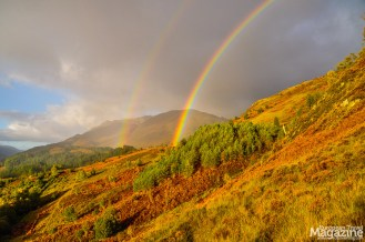 A hike in the morning might be awarded with a double rainbow and stunning views
