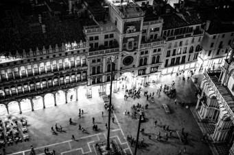 The beautiful and opulent Piazza San Marco seeing from Campanile di San Marco Tower at twilight