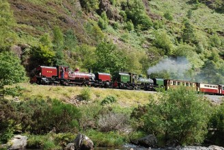 Photo copyright Chris Parry, Ffestiniog & Welsh Highland Railways - Garratts 138 and 143 double-heading in the Aberglaslyn Pass
