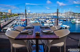 The terrace offers great views of the many boats, ships and yachts in the marina