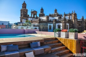 The rooftop bar offers unique views of the cathedral