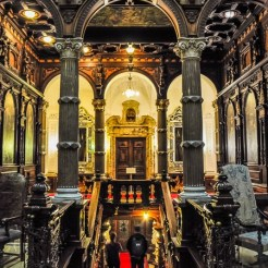 When you enter the castle, you are first met by the monumental, dark wooden staircase of The Hall of Honour