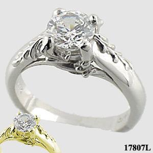 14k Gold AntiqueFloral CZ Cubic Zirconia Engagement Ring