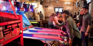 Skeeball and game room in bar
