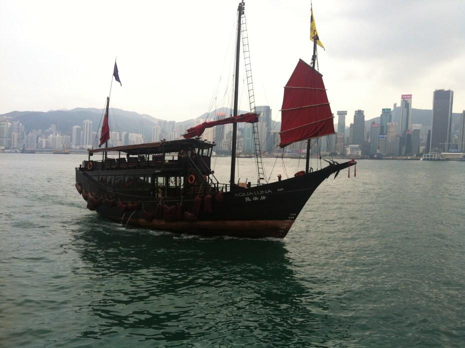 """Junk"" boat in Victoria Harbor, Hong Kong"