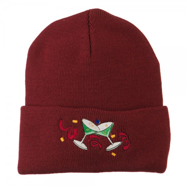 New Years Glass Embroidered Beanie