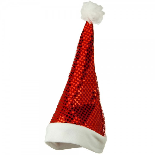 Red Sequin Santa Hat - Red White