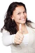 woman giving thumb