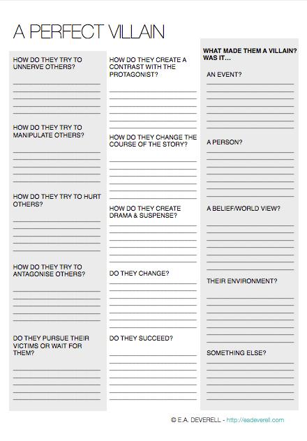 Villains Writing Worksheet Wednesday