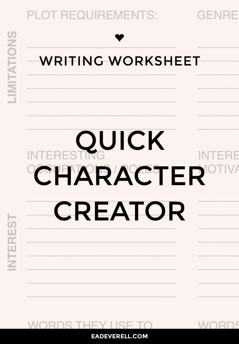 Character Creation Writing Worksheet Wednesday