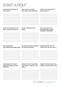 Writing Worksheet Wednesday: Fighting