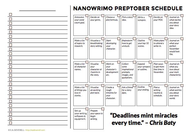 Preptober Schedule Creative Writing Blog