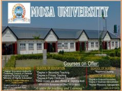 Mosa university Admission Requirements: 2019/2020
