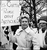 PS-Washington at a demonstration against the equal rights amendment, 1977.