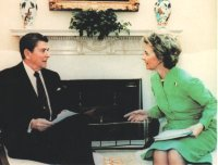 President Ronald Reagan and Phyllis Schlafly at the White House