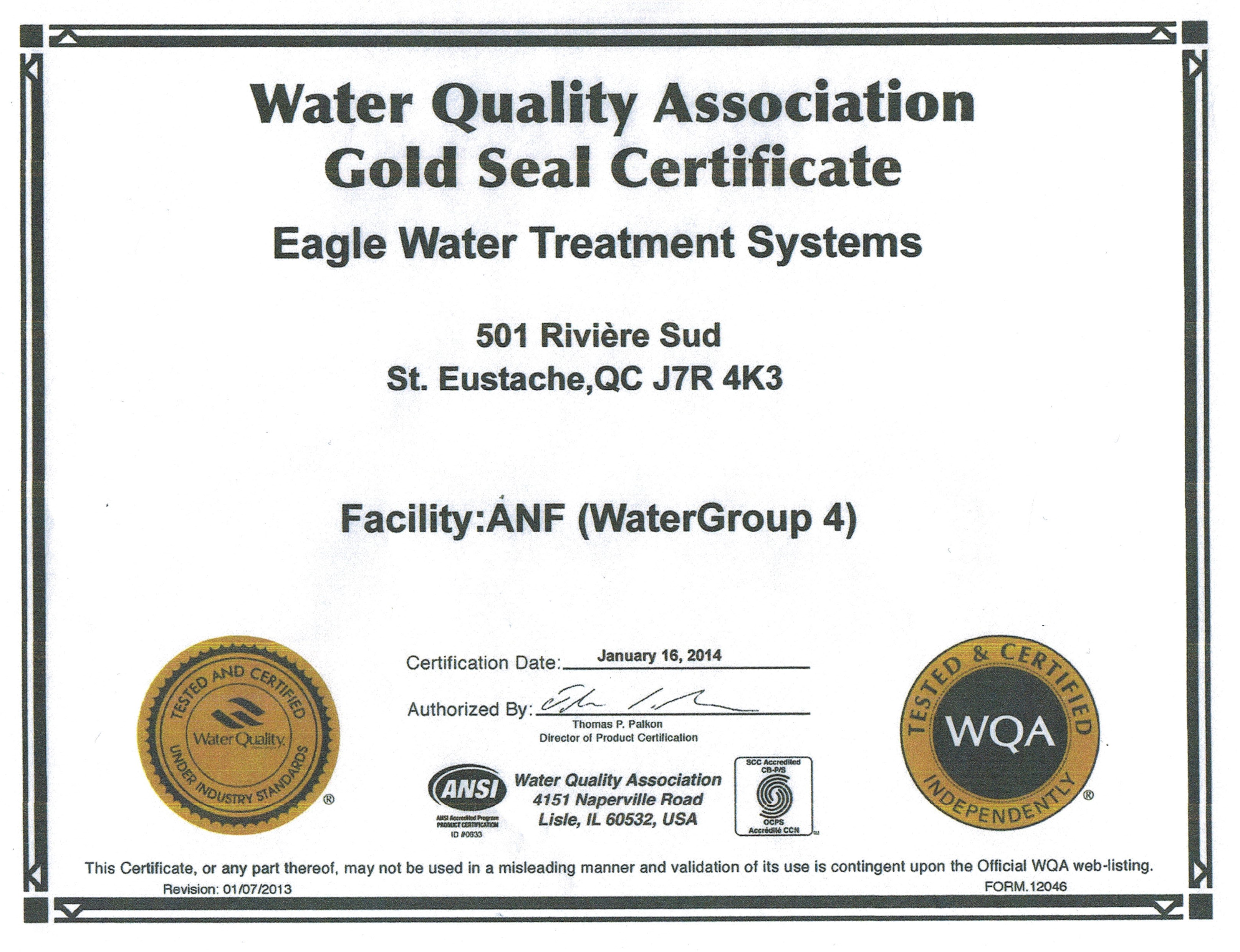 Home Water Treatment Systems Certifications Partners Eagle Water Treatment Systems