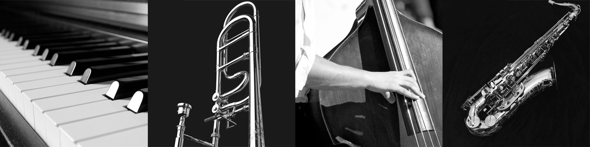 Collage of jazz instruments: piano, trombone, standup bass, and saxaphone