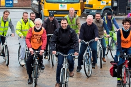 Lorry drivers on their bikes with Councillor Mahfouz for cycle safety training